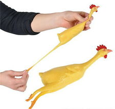 "LOT OF 12 STRETCH RUBBER CHICKENS 8"" GAG GIFT CARNIVAL PRIZE GOODY BAG FREE SHIP"