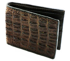 New Brown Genuine Crocodile Leather Back Skin Men Bi-Fold Wallet Free Shipping.