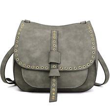 Ladies Fashion Faux Leather Medium Cross Body Satchel Shoulder Handbag Bag  Grey 083e309ab3