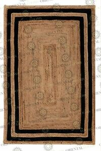 Double Border Black Jute Hand Made Rug, Bohemian Decor, Customize in Any Size...