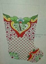 XMAS Stocking Art Deco Julie Poitras CreativeNeedle HANDPAINT NEEDLEPOINT CANVAS