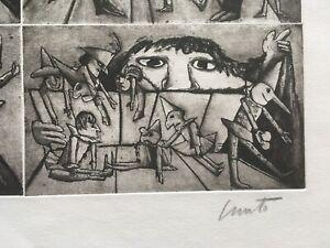 Emanuele Lele Luzzati acquaforte Pinocchio al teatrino di Mangiafuoco acquaforte