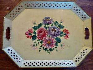 Vtg Cream Hand Painted Floral Shabby Chic Nashco serving Tray