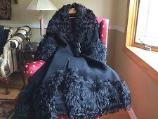 Vintage 70's MONGOLIAN CURLY LAMB AFGHAN FUR WOOL MAXI COAT Black XS/S/M RARE!