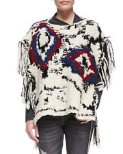 ISABEL MARANT Shanon Fringed Poncho 38 Wool Sweater Jumper Boho Top 6 8 10 12 14
