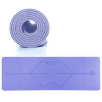 Non Slip Yoga Mat with Alignment Lines Eco Friendly Mat for Hot Yoga and Bikram