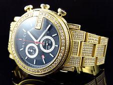 New Custom Mens 101 G Gold PVD Real 44 MM Diamond Gucci Ya101334 Watch 14 Ct