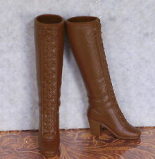 Vtg Barbie Mod Japan Fashion Accessory Squishy Lace Up Knee High Boots Brown