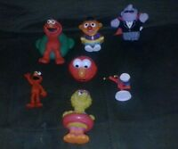 sesame street toy lot of 7 elmo big bird world vintage collection cool rare kids