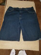 Levis mens blue denim baggy shorts with designs on  back pockets. Size waist 44.