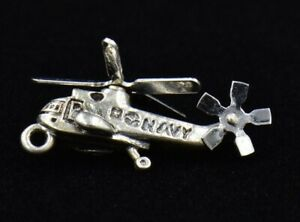 Vintage BEAU United States Navy Helicopter Sterling Silver Charm 925 3D American