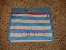 Lancome Kosmetik Makeup Tasche Blau mit weißen Streifen/pink Reißverschluss mit Griff