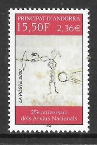 ANDORRA (Fr) - 2000.  National Archives Anniversary - 15f.50 Single, MNH