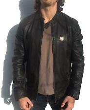 *CAFE RACER* ORIGINAL BROWN SUPERDRY LEATHER BIKER JACKET L £214.99