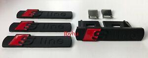 NEW Black Sline S Line Badges Emblems 4pcs Set for Audi A3 A4 A5 A6 A8 TT Q7