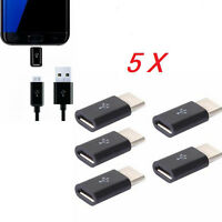 UK 5PCS USB Type-C Male 3.1 To MICRO USB Female Converter USB-C Adapter Black