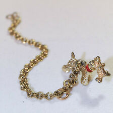 Unique Vintage Goldtone charm bracelet with Schnauzer or Terrier from the 1960's