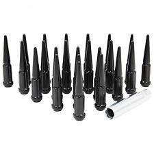 """20 Black 4"""" Spike Spline Wheel Lugs for M14x1.5, 5 Lug Wheels Incls Install Key"""