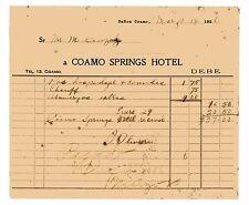 Antique Invoice / Coamo Springs Hotel / BaÑOs De Coamo / Puerto Rico / 1926 #4