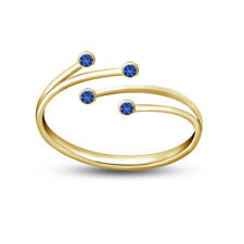 Adjustable Bypass Womens Midi Toe Ring Blue Sapphire 14k Yellow Gold Finish