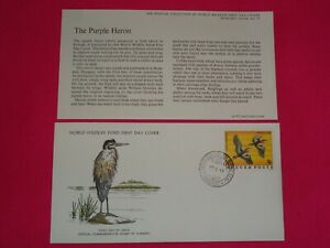 1977 WWF The Purple Heron Bird Hungary Official FDC Cover