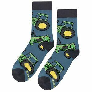 NWT Tractor Dress Socks Novelty Men 8-12 Blue and Green Fun Sockfly