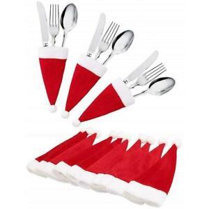 10 Mini Santa Hats Christmas Cutlery Holders Table Tableware Cover T1H2