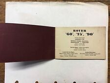 "Org. 1956 Rover ""60"" ""75"" ""90"" Technical Specifications booklet"