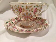 "Tea Cup&Saucer ""Pink Flowers"",Lomonosov Imperial Porcelain Factory,bone china"