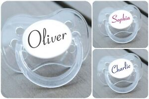 PERSONALISED DUMMY PACIFIER SOOTHER, ALL TEATS,SIZES & COLOURS, CONNETICUT FONT