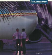 OLYMPIC AIRWAYS B737-400 BROCHURE 1990s SEAT CHART