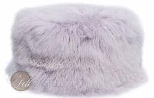 Tibet Lammfell Pouf 60 cm Durchmesser rund Lavender Fog Lila Flieder