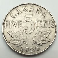1926 Canada Near 6 Six Five 5 Cents Canadian Nickel Circulated Coin C699z