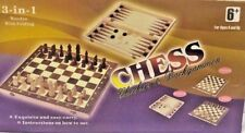 3 In 1 Wooden Chest Board Chess Checkers & Backgammon F&F D UK Stock