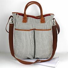 Nappy Diaper Bag Large Duo Delux French Stripe Design Changing Bag & FREE Mat