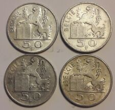 ===>> Lot 4 x 50 Francs Frank Prince Charles Belgique Belgïe coin Argent<<===