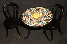 Mosaic Topped Table 2 Chairs 1:12 Cafe Garden Patio Bistro Miniature S50 2031