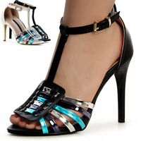 Damen Sandaletten Sandalen Metallic Pumps High Heels Riemchen Party 80er