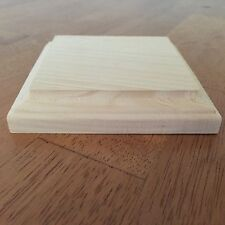 "New. Natural Unfinished Wood Plaque Wooden Square Base Stand 4""x4"" DIY"