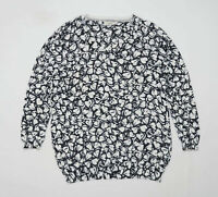 Next Womens Size 14 Floral Cotton Blend Black Top (Regular)