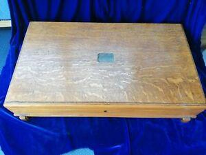 Vintage Oak Cutlery Box. Brass hinges, lock, escutcheon. Large.