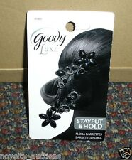 S07 ONE PACK OF GOODY LUXE BLACK FLOWER BARRETTES 2 PC. SECURE FIT #01805