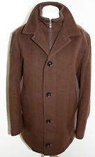 HUGO BOSS Mens Brown Coat Zip & Large Button Front,Size UK 54 100% Cashmere Wool