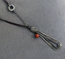 SILPADA Oxidized Sterling Silver Coral Brown Leather Pendant Necklace