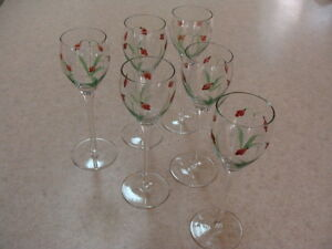 6 Crystal Tall Cordial Sherry Glasses Hand Crafted Painted in Romania