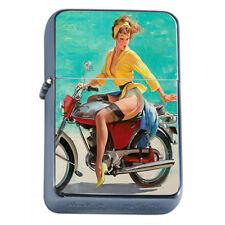 Windproof Refillable Fliptop Oil Lighter Classic Vintage Model Pin Up Girl D-163