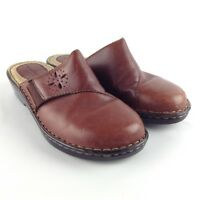 BROWN'S LANDING LUCY Women's Clogs Brown Leather Slip On Comfort Shoes Size 7M