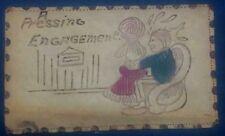 c1907 comic leather postcard A PRESSING ENGAGEMENT