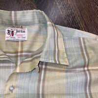 Vtg 50s 60s MR JORDAN Shirt Permanent Press Midcentury Loop Collar MENS MEDIUM