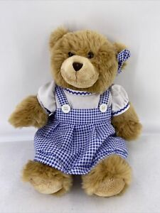 Build A Bear In Blue White Checked Dress Red Panty Bow Plush With Sound Roars